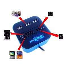 USB 2.0 hub Combo All In One Multi-card Reader with 3 Ports for MMC/M2/MS Blue Color Wholesale