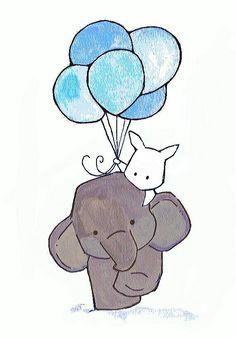 #elefante #coelho #animais #wallpaper #balões #colorir #arte #photoshop #releitura