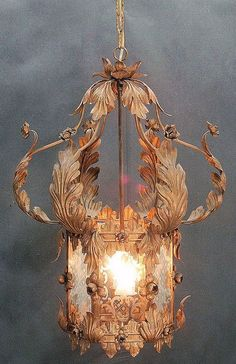 Very Ornate, Vintage Tole Lantern Chandelier