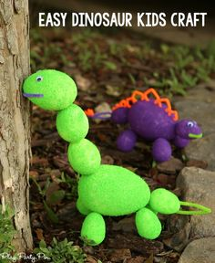 These foam dinosaurs would make an awesome dinosaur kids craft, perfect for a dinosaur birthday party idea, letter D activities, or someone who just loves dinosaurs