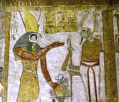Horus -guide and protector of the pharaoh- stands before Osiris -the god of the underworld- scene in the Tomb of Twosret and Setnakhte