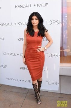 Kylie Jenner wearing Topshop Square Neck Ribbed Maxi Dress and Tamara Mellon High Scandal Black Suede Sandals