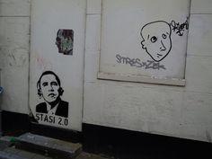 Obama Stasi 2.0, symbool van het protest tegen afluisterpraktijken van de NSA in Duitsland (locatie Butjesstraat).