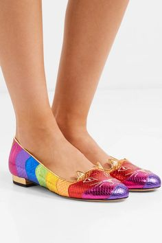 Gold leather heel measures approximately 10mm/ 0.5 inches Multicolored snake-effect leather Slip on Made in Italy