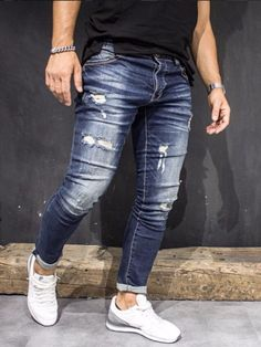 Mens Casual Dress Outfits, Denim Attire, Men Dress, Big Men Fashion, Denim Fashion, Fashion Pants, Street Jeans, Stylish Men, Men Casual
