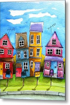 House Metal Print featuring the painting Wheaton by Lucia Stewart