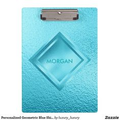 Personalized Geometric Blue Shiny  Clipboard