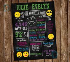 Teen Chalkboard Birthday Poster - Emoji Birthday Party - Smiley Face Birthday milestone Party board poster -*** Digital File Only *** by DigitalArtDesignsByB on Etsy