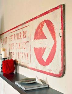 Antique road sign wall art