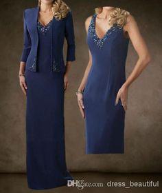 In Champagne?? Wholesale Wedding Dress - Buy Dark Blue V-Neck Beaded Coat Bolero Jacket Chiffon Mother of the Bride Dresses Formal Evening Dress, $136.36 | DHgate