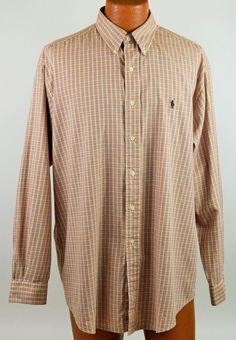 Ralph Lauren Blake Brown Plaid Long Sleeve Cotton Shirt Mens Large EX Used #RalphLauren #ButtonFront