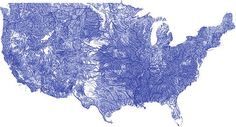 Artist Nelson Minar built a map of all of the rivers, streams and tributaries in the continental US. Take a closer look here: http://inhfblog.org/2013/06/19/incredible-waterway-map/ #INHF