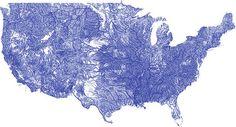 Mapa de todos los ríos de Estados Unidos