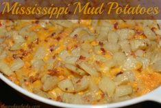 Mississippi Mud Potatoes - The Cookin Chicks Potato Side Dishes, Veggie Side Dishes, Vegetable Dishes, Side Dish Recipes, Veggie Recipes, Cooking Recipes, Mexican Recipes, Cheese Recipes, Appetizer Recipes