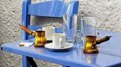 Take a break from all the craziness that is Mykonos with a traditional Greek coffee. Coffee Time, Coffee Cups, Coffee Break, Brown Coffee, Coffee And Books, Turkish Coffee, Greece Travel, Crete, Malaga