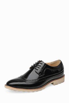 c0ceeb1825 Brogue Patent Men s Dress Shoes In Black Sapatos Masculinos