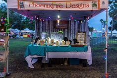 First time ever having my PhoenixFire Designs booth set up after dark! Required some creative battery-operated lighting! smile emoticon  At Shopapalooza 2014.  Visit us online at www.PhoenixFireDesigns.etsy.com