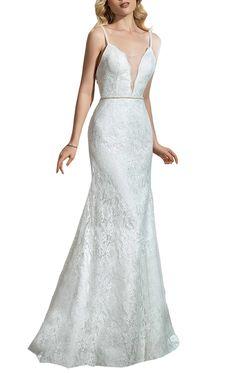 Ikerenwedding Women's Spaghetti Backless Lace Applique Mermaid Wedding Dress at Amazon Women's Clothing store: