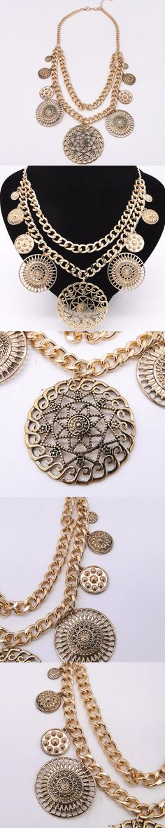 2016 foreign trade jewelry wholesale Restoring ancient ways is exaggerated alloy ancient gold The statement necklace double-deck