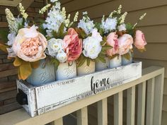 Lettered Drawer with White Mason Jars