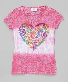 Another great find on #zulily! Fuchsia Heart Burnout Tee - Girls by Gi Gi Girl #zulilyfinds