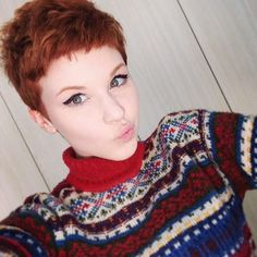"""Aaand I'm a little Christmas elf. ☺️ #redhead #christmassweater #pixie…"