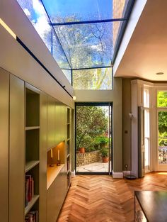 Glass Roof Extension, Old Victorian Homes, Parquet Flooring, House Extensions, Living Room Kitchen, Interior Design Kitchen, Home Projects, Storage Spaces, Architecture Design