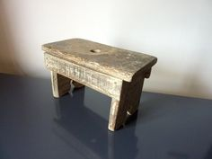 Very Cute Tiny French Vintage Milking Stool / Garden Stool / Foot Stool