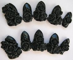3D deco nails  Gothic Romance  black rose gothic by Revontuletar, $25.00