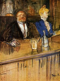 Henri de Toulouse-Lautrec (Henri de Toulouse Lautrec) (1864-1901) At the Café: The Customer and the Anemic Cashier Oil on cardboard c1898-c1899
