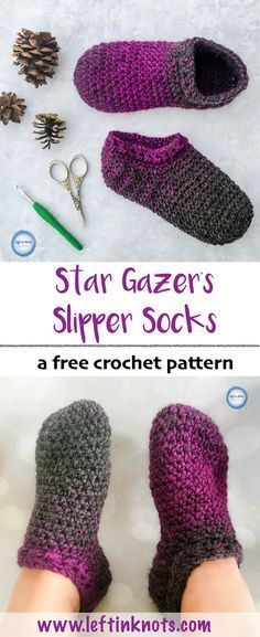 The Star Gazer's Slipper Socks combine texture and warmth to give you cozy pair of slippers for the coldest winter days. They take less than one skein of Lion Brand Scarfie yarn and will be a perfect addition to your last-minute gift list this holiday se Crochet Socks Pattern, Crochet Boots, Crochet Clothes, Knitting Patterns, Knit Crochet, Crochet Patterns, Free Knitting, Crotchet, Knitting Tutorials