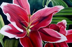 Oil on stretched canvas,paint brush. Stretched Canvas, Paint Brushes, Mosaics, Lily, Artist, Artwork, Flowers, Plants, Painting