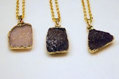 Gold Plated Agate Druzy Pendants $23.75
