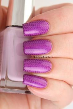 Violet tweed nails using Cupcake Polish Berry Good Looking, Moyra stamping plate 2 Fabric Texture and Barry M Fondant. #40GNAI #52WC