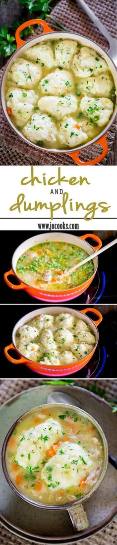 This easy recipe for chicken and dumplings screams comfort food. A hearty recipe using roasted chicken and fluffy buttermilk and chives dumplings that's simple to make and the whole family will love. (Chicken Stew And Dumplings) Dutch Oven Recipes, Easy Chicken Recipes, Turkey Recipes, New Recipes, Soup Recipes, Dinner Recipes, Cooking Recipes, Favorite Recipes, Cleanse Recipes