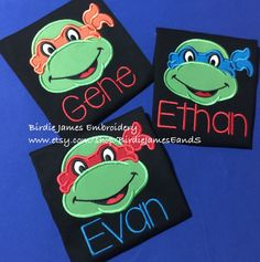 Teenage Mutant Ninja Turtle inspired birthday Shirt - choose the birthday number, color shirt & color bandana. Appliqued custom embroidery