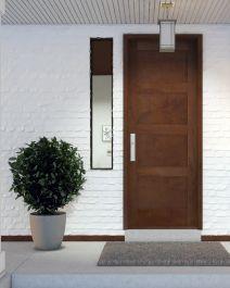 Modern 4 Flat Panel Shaker Mahogany Exterior or Interior Single Door Doors, Single Doors, Paneling, Contemporary Doors, Mid Century Modern House Plans, French Doors Patio, Patio Doors, Modern, Exterior