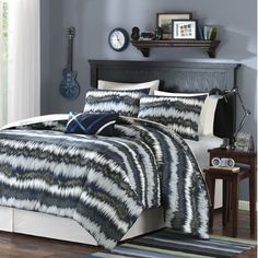 #Teen Bedrooms, Alexis Printed Comforter Set Size: Full/Queen, Color: Blue