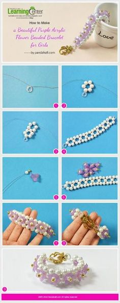 Purple Acrylic Flower and Pearl Bead Bracelet - This project is easy with white pearl beads,purple acrylic flower beads, etc.This purple acrylic flower and pearl bead bracelet will be popular among girls. Amber Jewelry, Bead Jewellery, Lc Jewelry, Jewellery Supplies, Jewellery Designs, Beaded Jewelry Patterns, Bracelet Patterns, Beading Patterns, Jewelry Making Tutorials