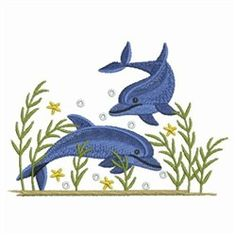 Ace Points Embroidery Design: Swimming Dolphins 3.02 inches H x 4.29 inches W