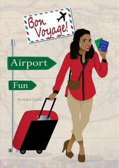 Available NOW! Bon Voyage card for women. There's a happy beautiful black (African American) woman pulling a red luggage with her passport and a plane ticket in her hands. She is wearing a red and black shirt, Khaki capri pants, brown shoes, and gold earrings. She has beautiful dark natural curly hair. Black women. Travelista. black people travel. Afrocentric Card. African American Card. Greeting Cards. Original illustration by Isidra Sabio