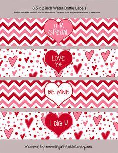Valentine Water Bottle Labels Napkin Rings by MoonLitPrintables Valentines Day Party, Valentine Day Crafts, Valentine Decorations, Be My Valentine, Valentine's Day Printables, Water Bottle Labels, Printing Labels, Scrapbook Paper, Card Making