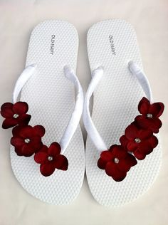 "The ""Christina"" White Flip Flop Sandal with red flowers - great for beach - wedding - bridesmaid gift. $20.00, via Etsy."