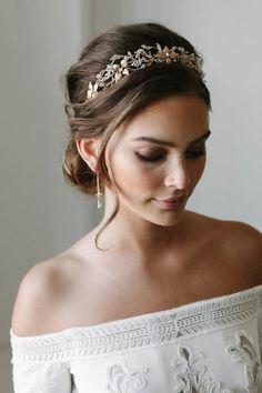 ROSEBURY beaded crystal wedding crown gold wedding crowns | Etsy