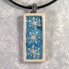 Snowflake Pendant Ceramic Stoneware Necklace 18 by northfirestudio, $21.50