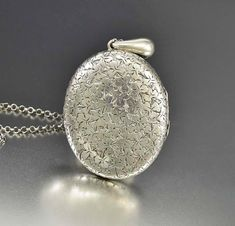 Antique Oval Engraved Clover Silver Photo Locket