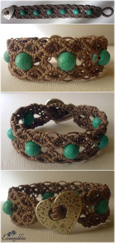 Macrame double wave bracelet. I wanted to try this lace-looking pattern with thick waxed thread to see if it looks as elegant... and it does!! Video tutorial by Macrame School: https://www.youtube.com/watch?v=XTk_yqhGwiA