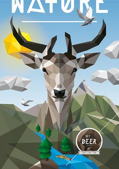 Low poly deer vector art.