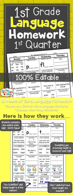 Spiral Language Homework, Morning Work, or Centers for the ENTIRE 1st Quarter of FIRST GRADE! Aligned with 1st grade Common Core Language standards {Grammar & Word Work}. These sheets are 100% EDITABLE, and come with answer keys. Paid