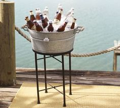 Galvanized Metal Party Bucket & Stand